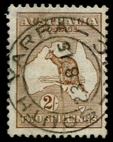 Lot 542:2/- Brown BW #36, mild wrinkle, superb 'SOUTH YARRA/23/8/15/VIC' double-ring datestamp, Cat $350.