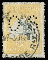 Lot 53:5/- Deep Grey and Yellow Perf 'OS' BW #43b, rough perfs, quite well centred, Adelaide datestamp cancel, Cat $700.