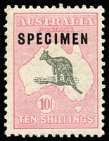 Lot 628:10/- Grey & Pale Pink Optd 'SPECIMEN' Type C variety Broken coast near Sydney BW #49x(D)d, well centred MUH, extrapolated Cat $2,200+. Very fresh stamp.