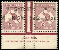 Lot 554:2/- Maroon Plate 2 Ash 'N' over 'N' imprint pair BW #39(2)za, postally used and very scarce thus, Cat $1,000 (as a mint pair).