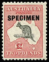 Lot 631:£2 Grey & Rose-Crimson Optd 'SPECIMEN' Type D BW #57x, fresh MVLH, Cat $900.