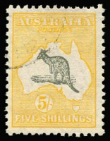 Lot 103:5/- Grey & Yellow-Orange BW #45w CTO, excellent centring, without gum, Cat $250. Drury Certificate (2018).