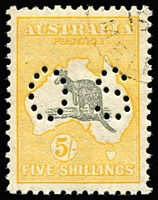 Lot 102:5/- Grey & Yellow-Orange Perf 'OS' BW #45ba, excellent centring, MVLH, Cat $250. Premium example.