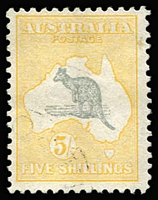 Lot 597 [2 of 2]:5/- Grey & Yellow & CofA example, both CTO, BW #45w,46w, without gum, Cat $300+. (2)