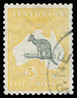 Lot 597 [1 of 2]:5/- Grey & Yellow & CofA example, both CTO, BW #45w,46w, without gum, Cat $300+. (2)