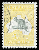 Lot 598:5/- Grey & Yellow variety Notch in kangaroo's snout [L23] BW #45(V)i, well centred, fine used, Cat $400.