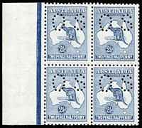 Lot 558:2½d Blue Perf 'OS' BW #11b marginal block of 4, vertical gum creases, very fresh, Cat $1,800+.
