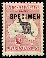 Lot 606:£2 Purple-Black & Rose Optd 'SPECIMEN' Type C variety Broken coast in Bight [R8] BW #56xb(D)r, mildly toned gum, MLH, Cat $9,750 (as an unoverprinted stamp). Drury Certificate (2018).