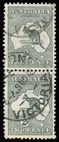 Lot 557:2d Deep Grey Die I unlocated variety Colour flaw at SE corner BW #7(U)d, on the lower unit (mild bend) of a vertical pair, postmark well clear of the variety, Cat $150+.  Ink leakage flaw