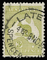 Lot 562:3d Olive Die I variety Deformed coast in Bight - State I [2R38] BW #13(2)g, Late Fee/Melbourne datestamp cancel clear of flaw, Cat $150.