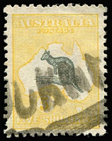 Lot 593 [2 of 2]:5/- Grey & Yellow x2 examples with varieties Kangaroo's foot broken & pointed tail [L52] and Broken coast near Sydney [L2], BW #44(D)d,(V)n, parcel cancels, Cat $875. (2)