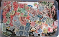 Lot 235:2.0kg+ Off Paper from Australian Colonies era through to 2000s, with values to to £2 or $20, plus Roos, KGV Heads (including official/state perfins), KGV high value commemoratives, etc. Lots of potential. (approx 50,000 stamps).