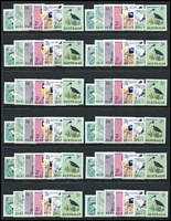 Lot 291 [3 of 3]:QEII Mint Pre-Dedecimal Array mostly MUH with lots of blocks of 4 (plus some larger multiples), also 5/- Cattle White paper, Navigators 4/- x14, 5/- x8, 7/6d x17 & 10/- x2, Birds Definitives set in block of 4 plus duplicates, AAT set duplicated etc; unchecked for varieties, generally very fine. (many 100s).