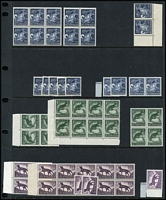 Lot 291 [1 of 3]:QEII Mint Pre-Dedecimal Array mostly MUH with lots of blocks of 4 (plus some larger multiples), also 5/- Cattle White paper, Navigators 4/- x14, 5/- x8, 7/6d x17 & 10/- x2, Birds Definitives set in block of 4 plus duplicates, AAT set duplicated etc; unchecked for varieties, generally very fine. (many 100s).