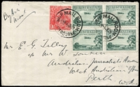 Lot 873:1929 3d Airmail BW #134 block of 4 plus KGV 1½d red tied by Ship Mail Room/Melbourne '1JE29' datestamp to David Symes & Co (Age Office, Melbourne) airmail cover to Australian Journalists Assoc in Perth. Rare as a multiple on commercial cover.