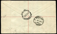 Lot 783 [2 of 2]:1931-38 6d Kingsford Smith Airmail BW #144 ( + 2d Red KGV & 3d Sturt) tied by Adelaide '4NO31' FD datestamp to registered airmail cover, addressed to Sydney, Cat $850.