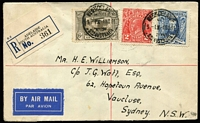 Lot 783 [1 of 2]:1931-38 6d Kingsford Smith Airmail BW #144 ( + 2d Red KGV & 3d Sturt) tied by Adelaide '4NO31' FD datestamp to registered airmail cover, addressed to Sydney, Cat $850.