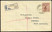 Lot 786 [1 of 2]:1932-37 6d Large Kookaburra BW #150 tied by Adelaide '1JUN32' FD datestamp to registered plain cover, addressed to Evandale (SA). Very fine example. Cat $325.