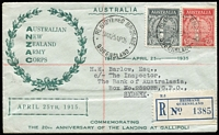 Lot 879 [1 of 2]:1935 Anzac Set BW #164-5, tied by Registered Brisbane '25AP35' Anzac Day cancel to Northern Stamp Co souvenir cover with cachet. Fine and attractive, Cat $400+ (for plain FDC).