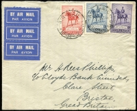 Lot 372:1935 Silver Jubilee set BW #166-8 on 1935 (Dec 4) airmail cover from Brisbane to Lloyds Bank in Bristol, England. Cover with light vertical fold through 3d and the 2/- has a few trimmed perfs; 2/- alone Cat $400 on cover.