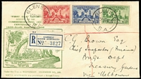 Lot 302:1936 SA Centenary set BW #171-73 tied by Glenelg '3AU36' FD datestamp to SA Stamp Co FDC with 'Text at left' type cachet, cover registered at Glenelg which is the location of the Proclamation Tree shown in the cachet. Only one other example is known with the complete set of stamps affixed.
