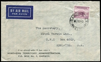 Lot 469:1938-52 5d Ram P13½x14 BW #200 solo franking tied by 'DARWIN NT/7MR40/AUSTRALIA' datestamp to commercial airmail cover, with typed address, to Adelaide.
