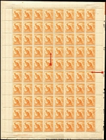 Lot 304:1938-66 ½d Orange Kangaroo Perf 14¾x14 CofA Wmk BW #179 Sheet B complete right pane of 80 including variety Coloured flaw from right ear to 'O' [R6/8] BW #179g, hinged to album page on selvedge only, stamps MUH, Cat $180+.