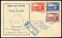 Lot 510:1938 NSW Sesqui set tied by Catherine Hill Bay (NSW) FD datestamp to registered Hornadge cover, typed address to UK.