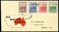 Lot 800:1940 AIF 1d to 6d set BW #218-21, unusually tied to FDC by pertinent 'BUY/WAR SAVINGS/CERTIFICATES' FD slogan cancel.