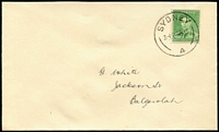 Lot 463:1941-42 1½d Green KGVI BW #186 tied to plain G.White FDC by Sydney '10DE41' FDI cancel, flap missing otherwise a fine example of this scarce wartime FDC.