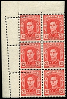 Lot 323:1942-50 2½d Scarlet KGVI corner block of 6 (2x3) with Double perforations at left BW #230bc, fresh MUH, Cat $600+. Impressive error.