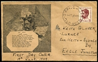 Lot 776:1949 2½d Lawson tied by Brisbane '17JE49; FD datestamp to FDC with rare Rochaix cachet.