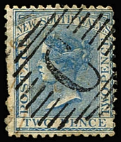 Lot 1008 [2 of 2]:1857-83 Used in Constantinople GB 1883-84 2/6d lilac SG #178 & NSW 1863-69 DLR 2d each with forged 'C'-in Bars cancels of Constantinople. (2)