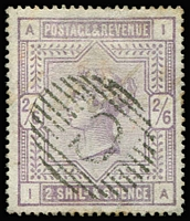 Lot 1008 [1 of 2]:1857-83 Used in Constantinople GB 1883-84 2/6d lilac SG #178 & NSW 1863-69 DLR 2d each with forged 'C'-in Bars cancels of Constantinople. (2)