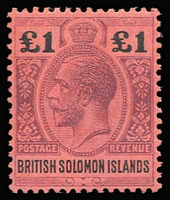 Lot 1010:1914-23 KGV Wmk MCA £1 purple & black/red SG #38, fine mint, Cat £250.