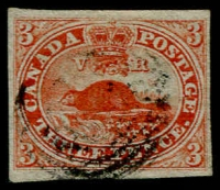 Lot 1264:1852-57 Imperf Handmade Wove Paper 3d red on Thin paper SG #5, tiniest of nicks (outside frameline) & associated crease at lower left, margins close to wide (at top & at base), very fine appearance, Cat £225.