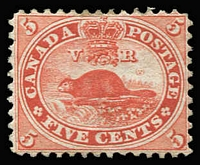 Lot 1463:1859 Decimal Currency 5c deep red Beaver SG #32, large-part gum, Cat £450.