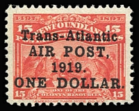 Lot 1494:1919 Trans-Atlantic Air Post $1 on 15c bright scarlet SG #143, fine mint, Cat £130.