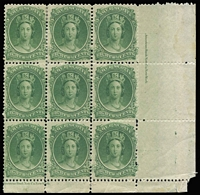 Lot 1297 [2 of 2]:1860-63 Yellowish Paper 8½c deep green corner block of 9 (few perf separations & reinforcements) and 12½c block of 4, both with American Bank Note Co imprints; fine mint overall with some units MUH, Cat £197++. (2 blocks)