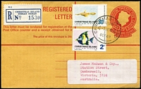 Lot 1389 [1 of 2]:1972 (June 3) use of 25c Registration Envelope to Australia uprated with 30c & 2c Fish, multiple transit backstamps, original damaged address label has been replaced.