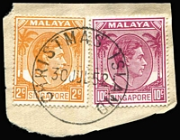 Lot 402:1952 Singapore Used on Christmas Island of KGVI 2c & 10c tied to small piece by very fine strike of Proud Type D10 'CHRISTMAS ISLAND/30JUL52' datestamp.