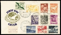 Lot 1358:1963 Pictorials 2c to $1 set SG #11-20 on Van Dahl generic FDC. Rare.