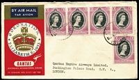 Lot 404 [3 of 10]:1953-54 Covers With Malayan Stamps Used in Cocos [1] 1953 Coronation cover with Singapore 10c x5; [2] 1955 Royal Visit flight cover with various Malayan issues on front & reverse tied by fine Cocos '5AP54' datestamps; [3] 1954 Royal Visit FDC with Singapore 10c P17½x18. (3)