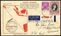 Lot 404 [5 of 10]:1953-54 Covers With Malayan Stamps Used in Cocos [1] 1953 Coronation cover with Singapore 10c x5; [2] 1955 Royal Visit flight cover with various Malayan issues on front & reverse tied by fine Cocos '5AP54' datestamps; [3] 1954 Royal Visit FDC with Singapore 10c P17½x18. (3)