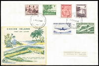 Lot 1391:1963 3d to 2/3d Pictorial set SG #1-6 tied by Adelaide '11JE63' datestamp to FDC with Wesley cut-out cachet, Stalley's Stamp Shop address label. Rare with mainland FDI cancel.