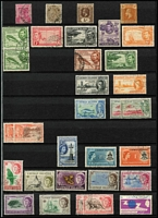Lot 26 [3 of 3]:British West Indies 1880s-1960s used array in stockbook with selections from Antigua, British Guiana, British Honduras, Caymans, Dominica, Grenada, Leewards, Montserrat, Saints, Turks & Caicos & Virgin Islands; modest pickings, generally fine. (Few 100s)
