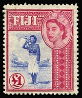Lot 44 [2 of 4]:Fiji 1922-54 Selection with KGV 1922-27 Script CA 2/- & 2/6d used & 5/- mint; also 1954-59 QEII £1 MNG; Cat £180+. (4)
