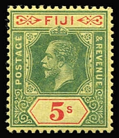 Lot 44 [1 of 4]:Fiji 1922-54 Selection with KGV 1922-27 Script CA 2/- & 2/6d used & 5/- mint; also 1954-59 QEII £1 MNG; Cat £180+. (4)