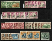 Lot 48 [2 of 3]:Jamaica 1870s-1980 used array, with QV 1870-83 Crown CC 6d x2 & 1/-, KGV to 1/- plus range of War Stamps, 1919-21 MCA 1½d Wmk Sideways inverted & reversed (Cat £80), KGVI values to 5/- x3 & 10/- plus 2d to 6d values on plain 1938 FDC, etc. Condition mostly fine.