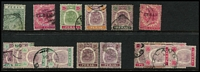 Lot 57 [2 of 3]:Malaya States array on Hagners, mostly broken sets or part-sets with better pickings including Kelantan 1922 Malaya-Borneo Exhibition 4c & 5c SG #30-1, Perak 1895 50c Tiger SG #74, Selangor 50c Tiger SG #59 & 1948 $5 Wedding; some 1950-60s issues to $5 plus a few covers, condition mostly fine. (100s)